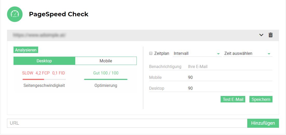 Der PageSpeed Check zeigt die Seitengeschwindigkeit und die Optimierung an