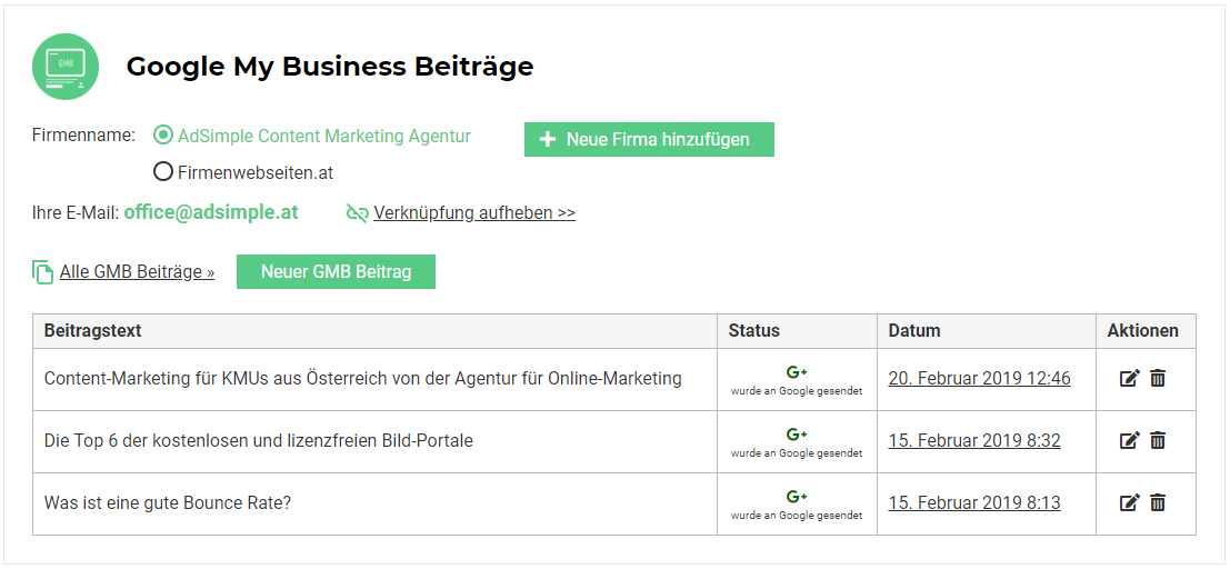AdSimple® Google My Business Beiträge
