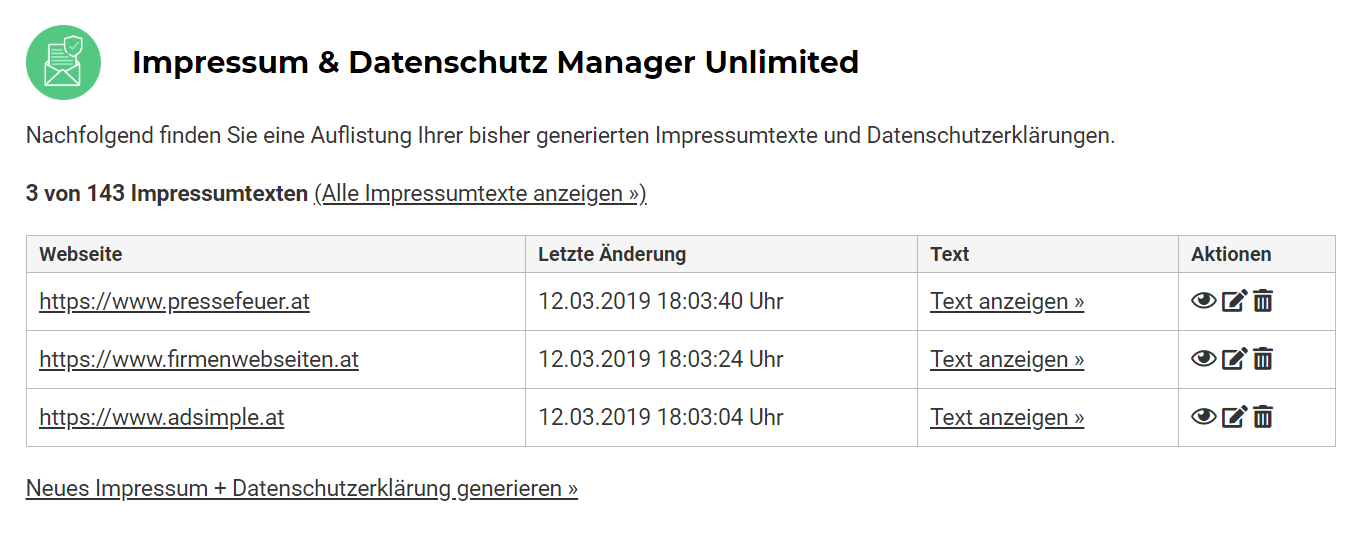 AdSimple® Impressum & Datenschutz Manager