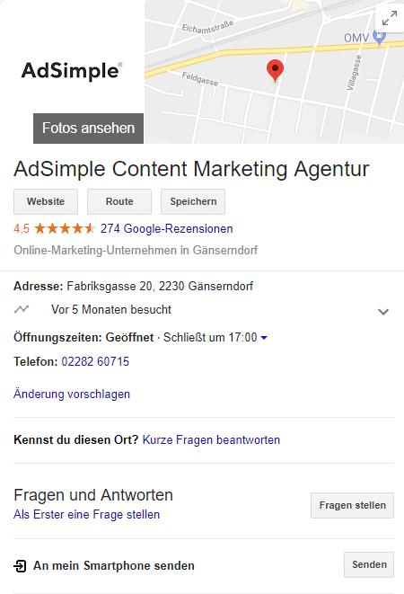 Im Google My Business Profil sehen User Ihre Bewertungen