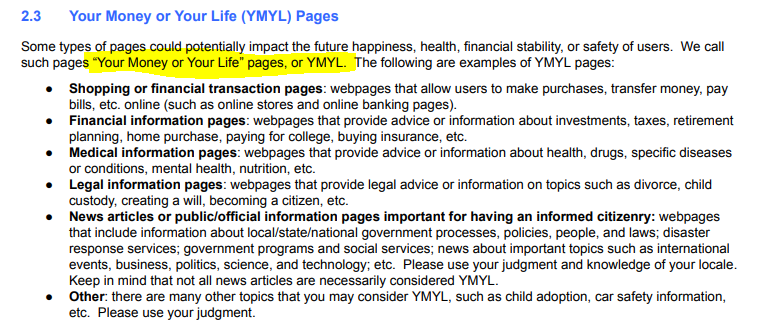 YMYL-Webseiten