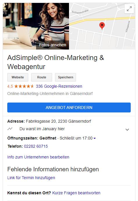 So sieht das GMB-Profil aus, wenn Sie nach unserer Firma googlen.