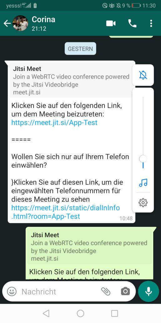 Telemedizin Link über WhatsApp erhalten
