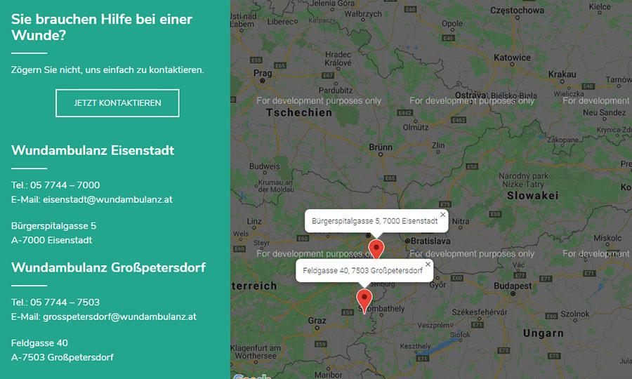 Das Google-Maps-Plugin zeigt den Weg zur Praxis