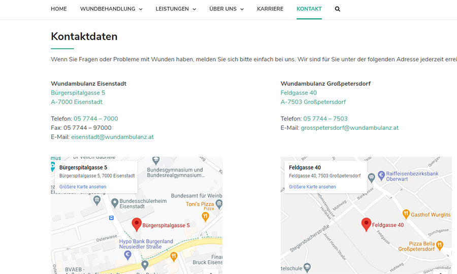 Auch auf der Kontaktseiten ist ein Google-Maps-Plugin installiert