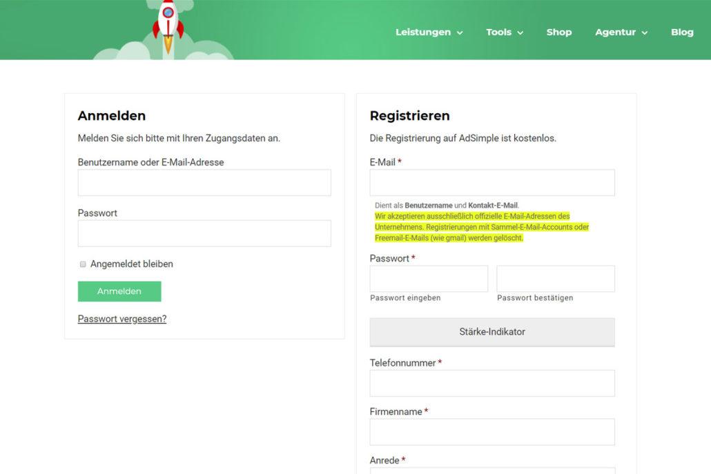 Anmelden oder Registrieren bei adsimple.at