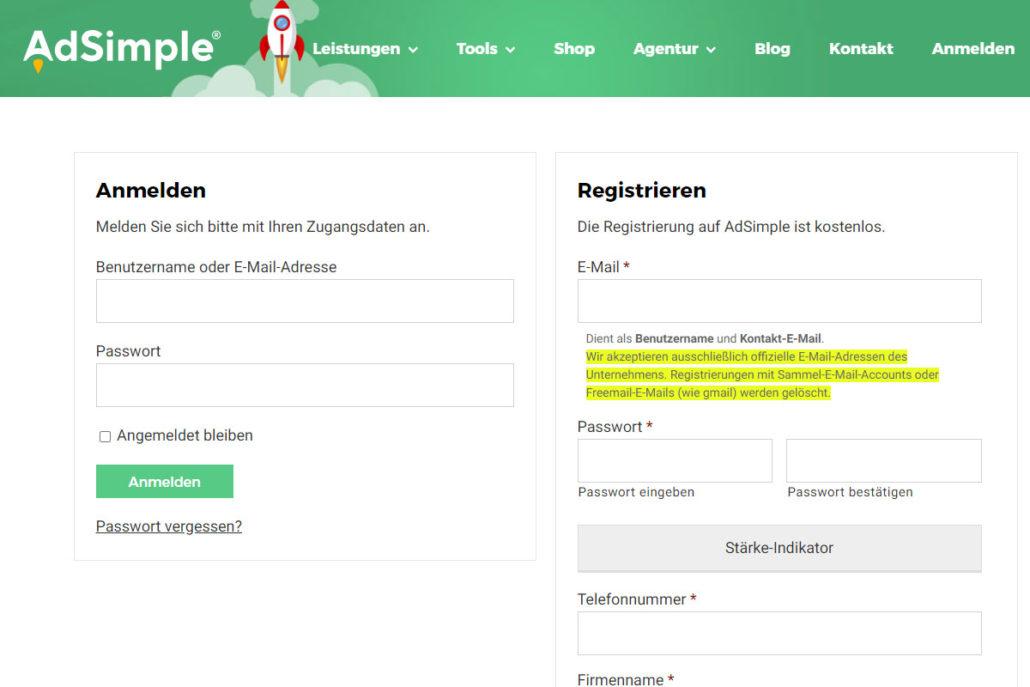 Registrieren oder melden Sie sich auf adsimple.at an