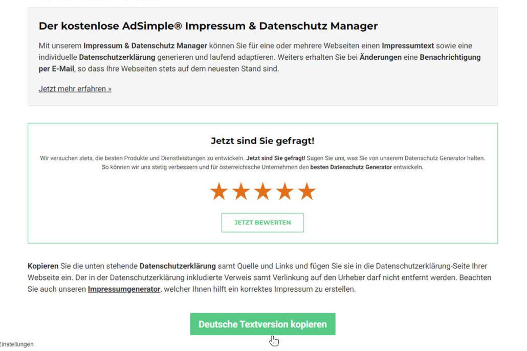 """Klicken Sie nun auf """"Deutsche Textversion kopieren"""""""