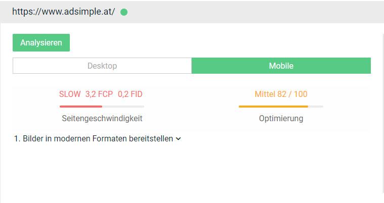 Hier sehen Sie den Pagespeed in der Desktop oder mobilen Version