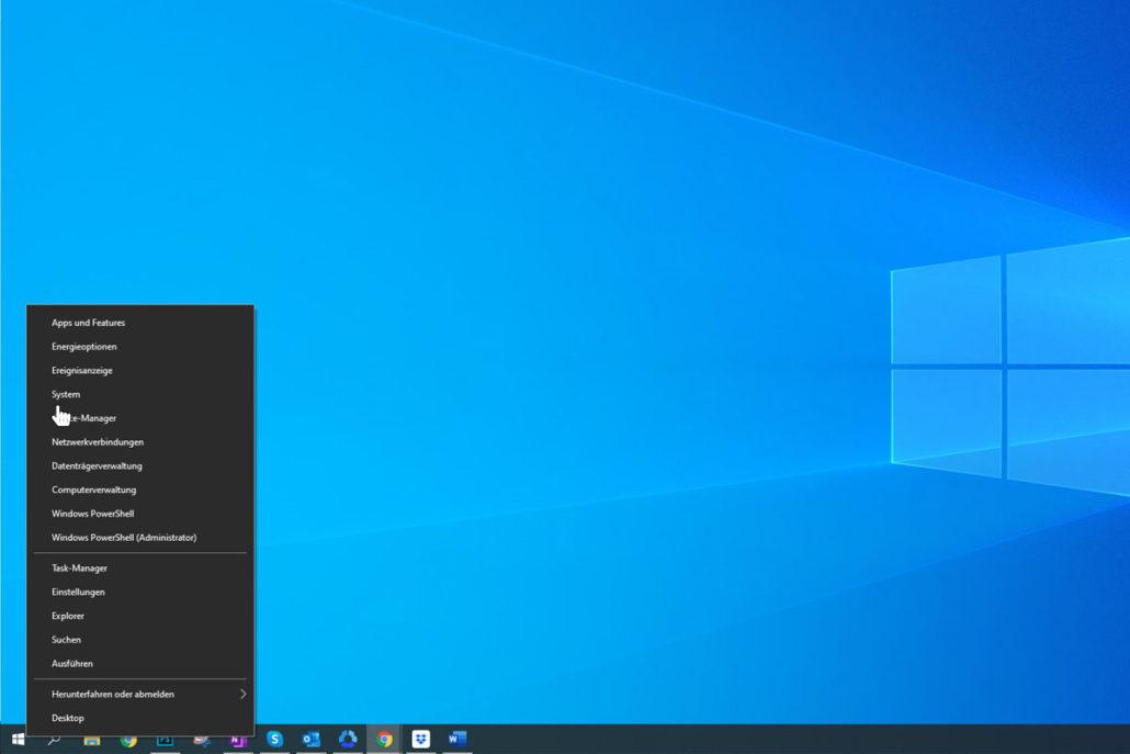 """Klicken Sie auf das Windows-Symbol und dann auf """"System"""""""