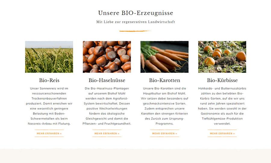 Fotos der Website unseres Kunden biohofmuehl.at