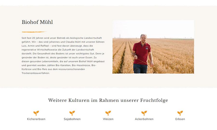 Bilder der Website unseres Kunden biohofmuehl.at