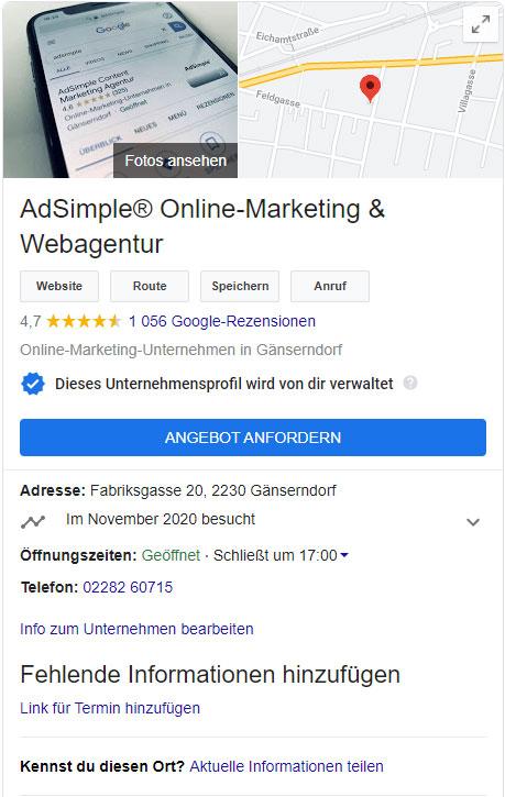 Ein professionelles Google My Business Profil
