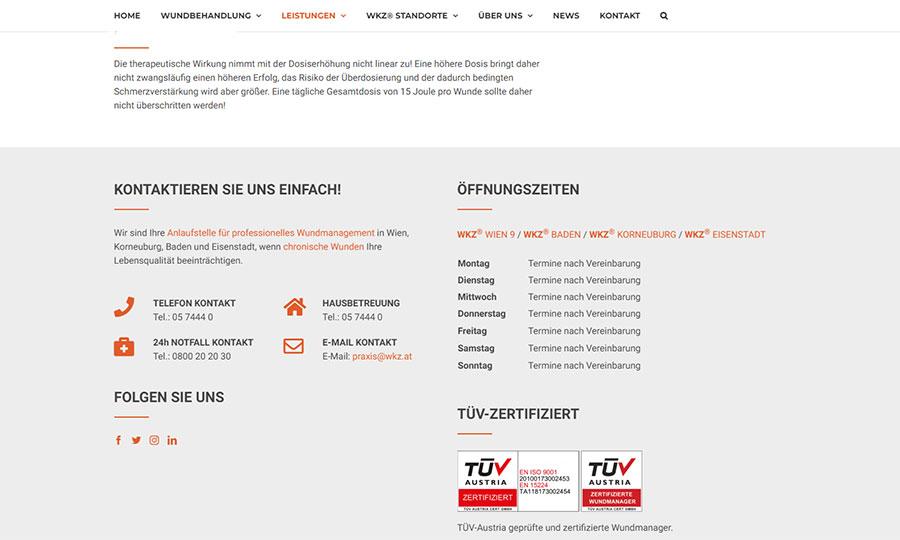 Das Kontaktformular der WKZ-Website